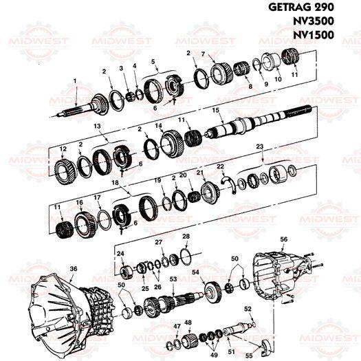 Parts Illustration NV3500, NV1500 Manual Transmission