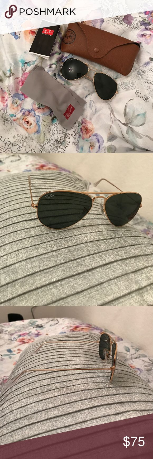 Ray Ban Aviators These are the gold frame Ray Ban Aviators. In great condition, very stylish. Extremely minor scratch pictured that is barely noticeable unless you look very closely. Super cute! Ray-Ban Accessories Glasses