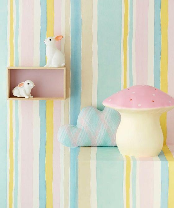 Papeles de rayas en tonos pastel for Habitacion bebe rayas