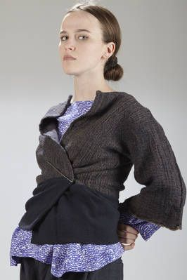 Daniela Gregis | short jacket in washed melange wool cloth with the bottom in solid color double wool crêpe | #danielagregis