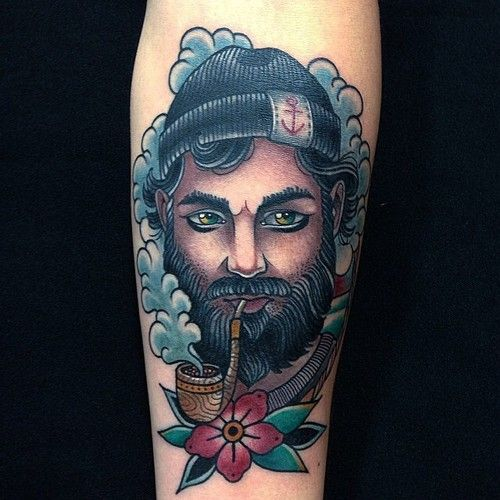 sailor man smoking a pipe (reminds me a bit of hemingway) Tattoo by @jeanleroux