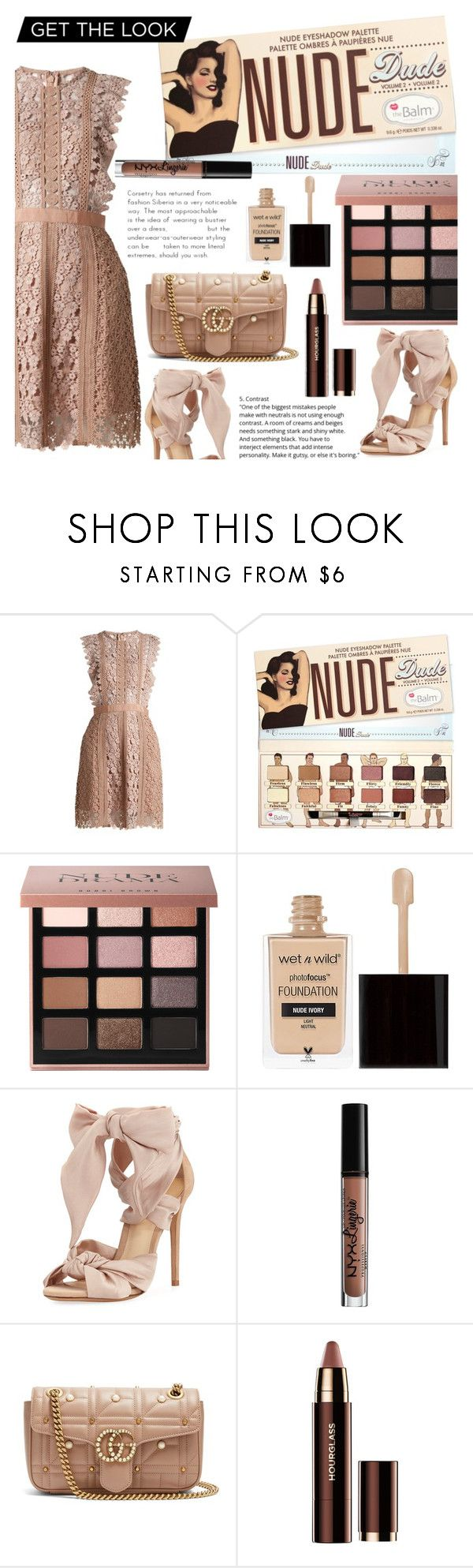 """Nude LOOK"" by crochetragrug ❤ liked on Polyvore featuring self-portrait, Bobbi Brown Cosmetics, Wet n Wild, Alexandre Birman, Charlotte Russe and Gucci"