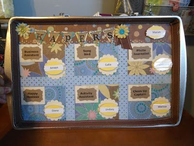 Girl Scout Leader: mapper chart on cookie tray, use magnets with girls names to ratate