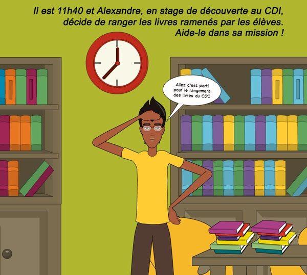 """Jeu 1 pour vérifier ses connaissances sur le classement des documents du CDI: """"Mission classement avec Alexandre"""" (jeu réalisé par Tiphanie Jourdain, professeur-documentaliste au Collège de Bercé)"""