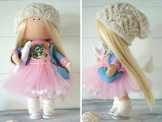 Handmade doll Fabric doll Cloth doll Muñecas Baby doll Textile