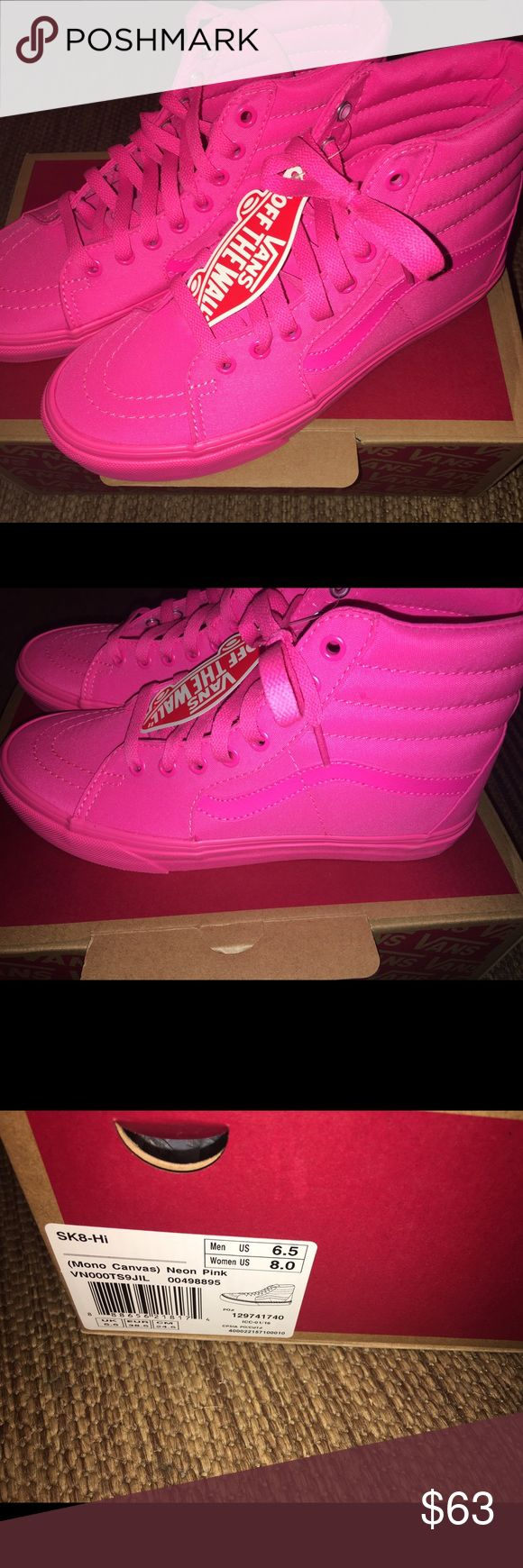 NWT neon pink vans New in box neon all pink high top vans! Men's size 6.5 and women's size 8! ***>price is firm unless bundled*** NO trades Vans Shoes Sneakers