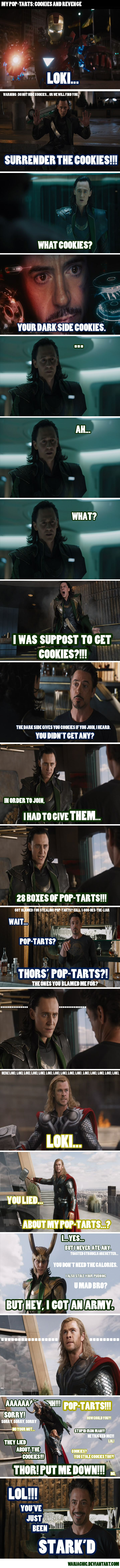 i would have given tom hiddleston cookies.... and plus, this dialogue is better than the original.... except the 'i am burdened with a glorious purpose' which reminds me of steve martin in 'the jerk' ... remember his 'special purpose?' lol