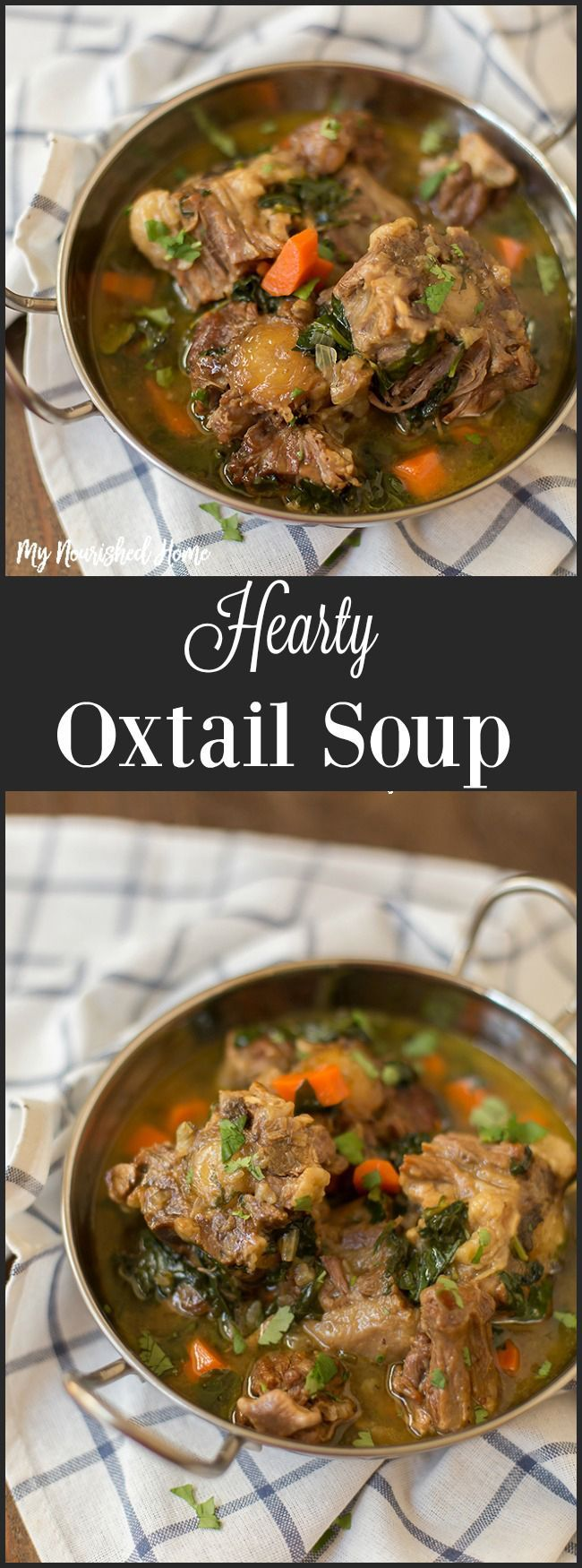 This hearty Oxtail Soup Recipe is thicker than a soup, but not quite a stew. Rich and full of veggies, you are going to love this flavor! via @mynourishedhome