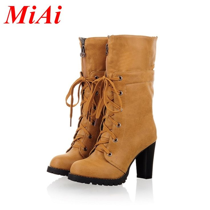 Chegada nova moda feminina botas 2016 dedo do pé redondo lace up salto grosso sapatos casuais de salto alto mulheres meados de bezerro botas outono botas alishoppbrasil