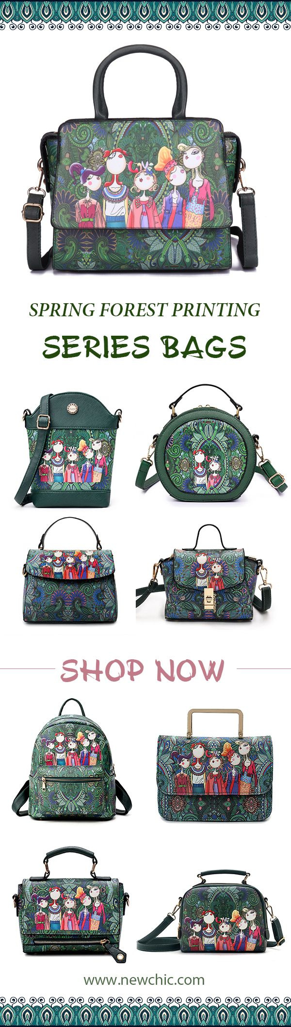 2018 newest fashion trend.Spring forest printing series bag.Green represents vitality and lively.Young fashion.