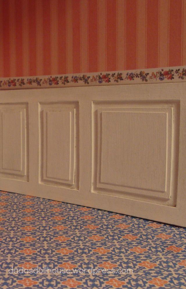 dadasdollhouse.wordpress.com La boiserie fatta con scatole di cereali - The wall panelling made from cereal boxes