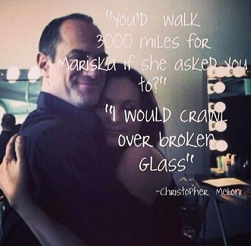 """""""You'd walk 3000 miles for Mariska if she asked you to? I would crawl over broken glass.""""  - Christopher Meloni --- <3'd Benson and Stabler together"""