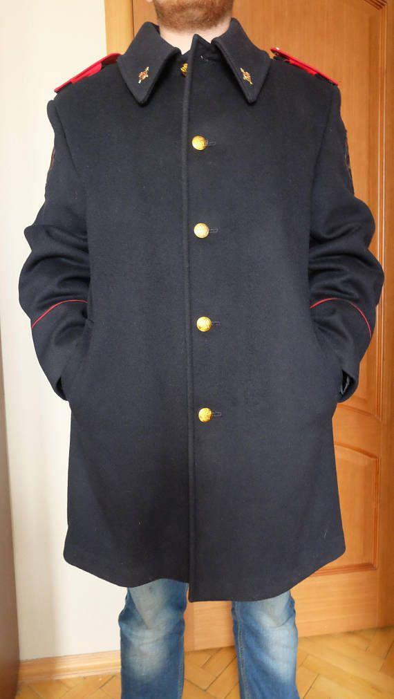 XL Mens Wool Overcoat. Navy Blue Winter Coat Men's Vintage
