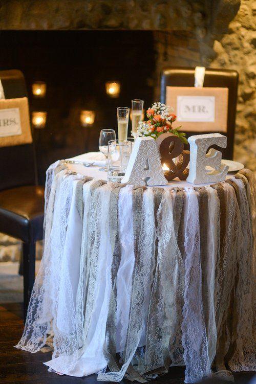 """Arpillera y encaje guirnaldas elegantes rústicas pero en mal estado puede ser utilizado en las bodas granero, picnics, recepción de la boda, fiestas, o utilice para los apoyos en una fotografía. Tiras de arpillera natural y encaje se utilizan para crear esta shabby chic, rústico, o decoración tipo vintage  o agregar a su día especial. Ancho total de la guirnalda es 45 """"w con un mínimo de 40"""" de hilo extra en cada lado y 33 """"l."""