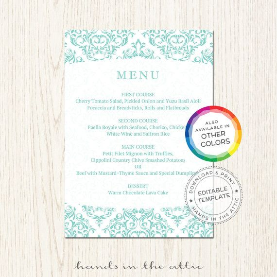 68 best Wedding Menu Cards images on Pinterest Wedding menu - lunch menu template