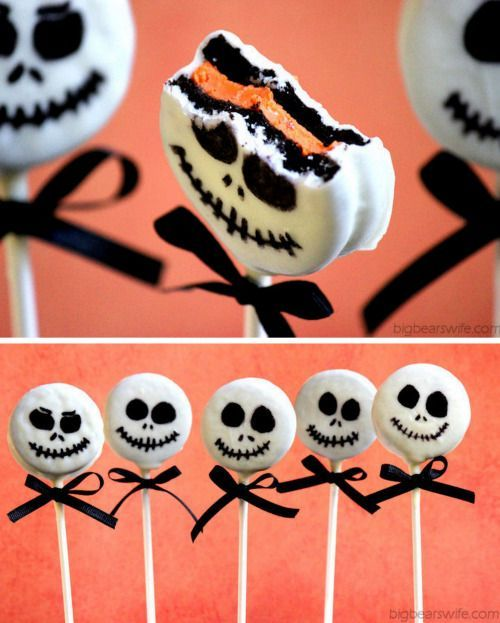 DIY Easy Jack Skellington Oreo Pop Tutorial from Big Bear's Wife.These Jack Skellington Pops are made from orange filled Oreos that you can find around Halloween time. For more Halloween food like spider donuts 18 Gross Halloween Recipes snakes on a stick grilled turtles spiderweb cakes and devil cupcakes go here: halloweencrafts.tumblr.com/tagged/foodIf you like Jack Skellington I posted 14 Nightmare Before Christmas DIYs here.