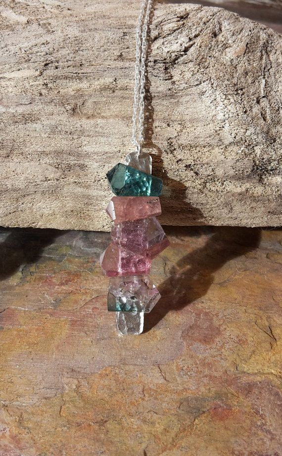Beautiful Pink and Blue  Tourmaline and Sterling silver Pendant Necklace.