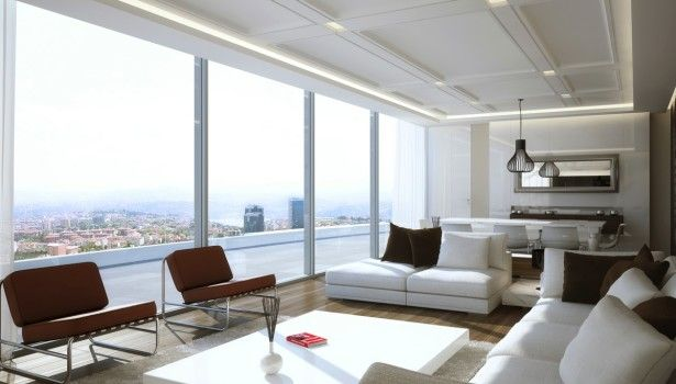 Furniture Modern White And Brown Living Room Design With Amazing City Views Ceiling Patterns Design Half Glass Wall Design Ideas This Extraordinary Modern Sofas Decoration Will Enchant Your Eyes And Bring Coziness