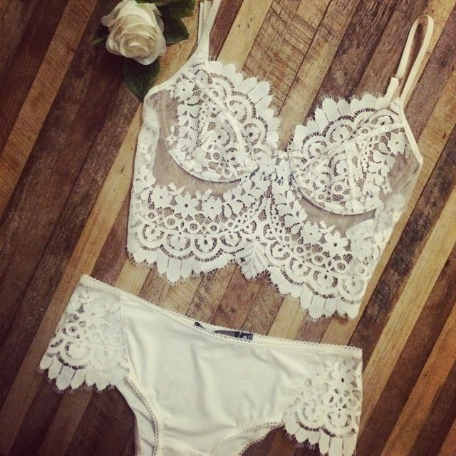 She's A Knockout Bralette and Panty set in white just arrived on our site  #forloveandlemons #downtoyourskivvies