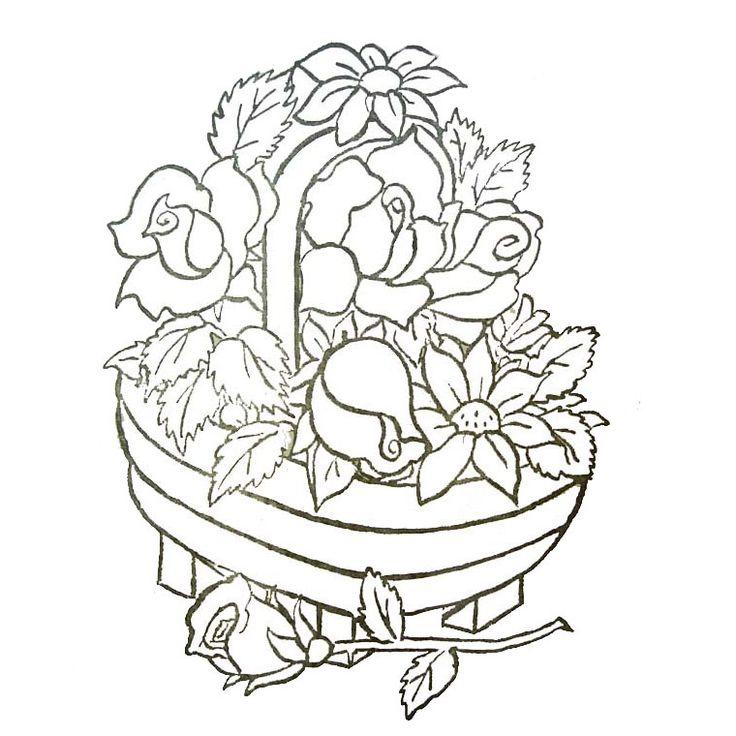 Coloriage panier de fleurs a imprimer gratuit broderie - Photo de fleur a imprimer ...