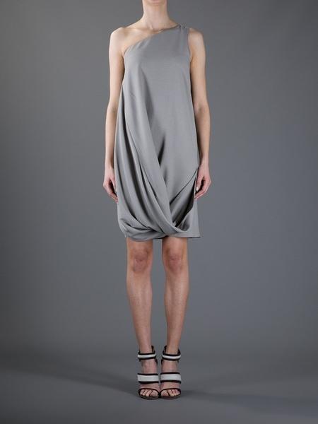 Emporio Armani Gray Draped Dress