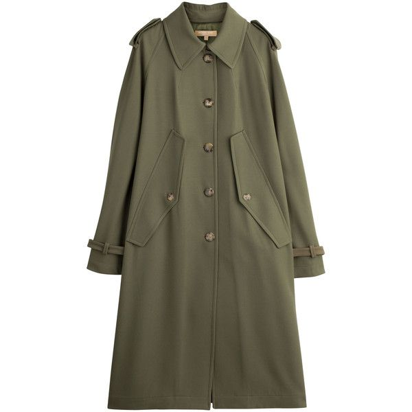 Michael Kors Collection Vrigin Wool Trench Coat (2285 TND) ❤ liked on Polyvore featuring outerwear, coats, jackets, coats & jackets, michael kors, green, green cape coat, wool cape, cape trench coat and green trench coat