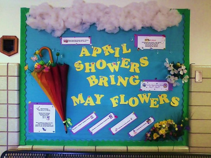 Math Classroom Door Decoration Ideas ~ April showers bring may book worms board month