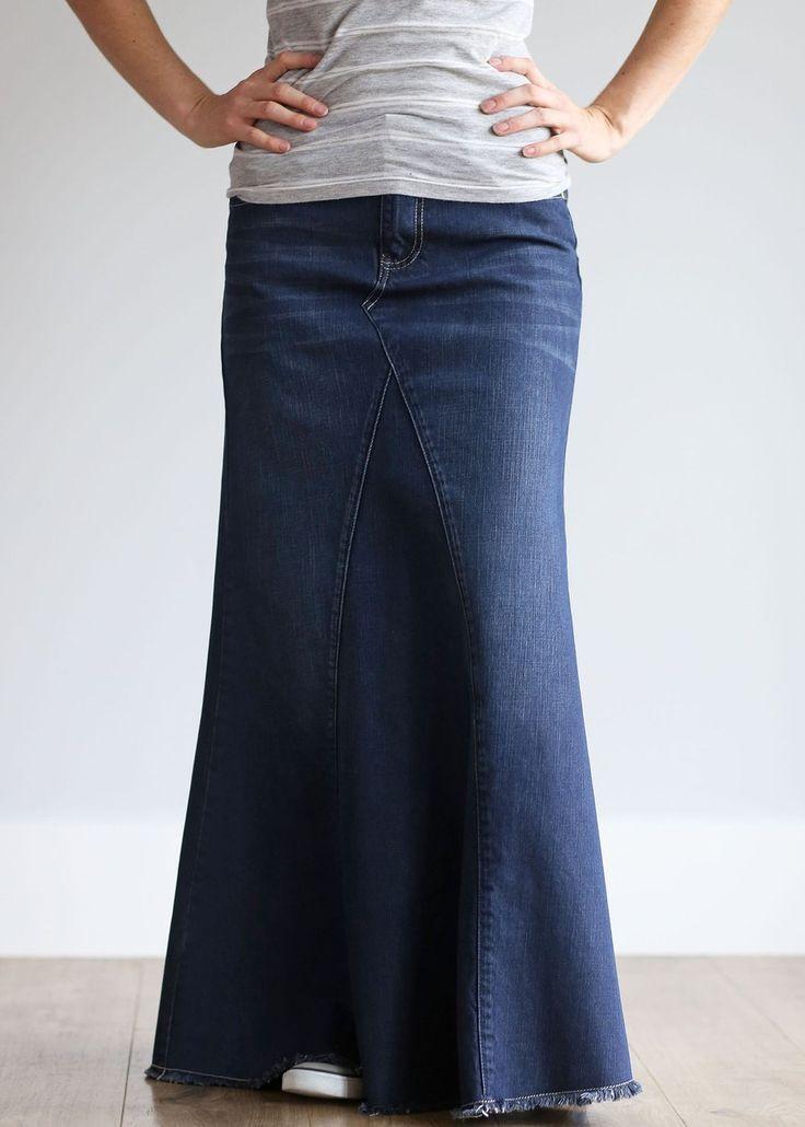 Lainey Long Denim Skirt
