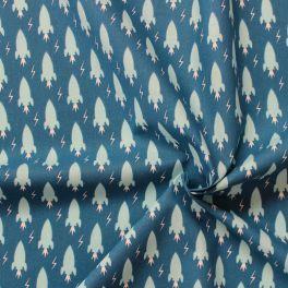 Tissu en coton imprimé  de fusées