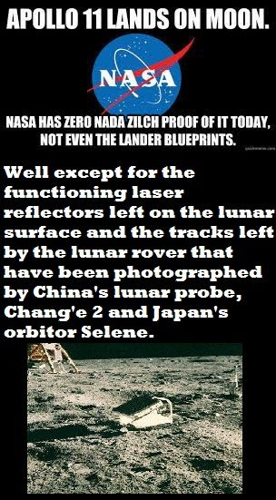 3rd party evidence -> https://en.wikipedia.org/wiki/Third-party_evidence_for_Apollo_Moon_landings   Apollo Lunar Module Documentation->  https://www.hq.nasa.gov/alsj/alsj-LMdocs.html #NASALies #Follow