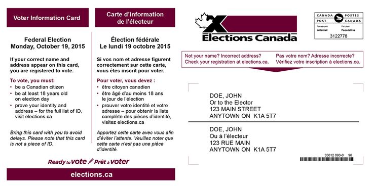 Front side of the Voter information card