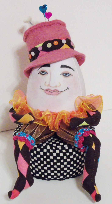 Humpty Dumpty pincushion. Paula McGee design