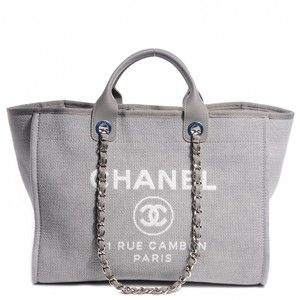 CHANEL Canvas Deauville Large Tote Grey