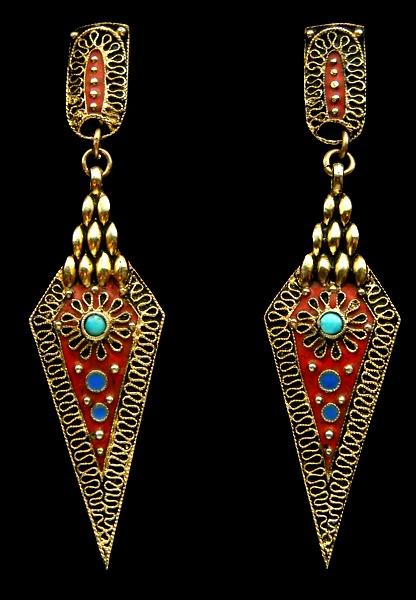 Earrings   Theodor Fahrner. Gilded silver and enamel. c. 1927, German.