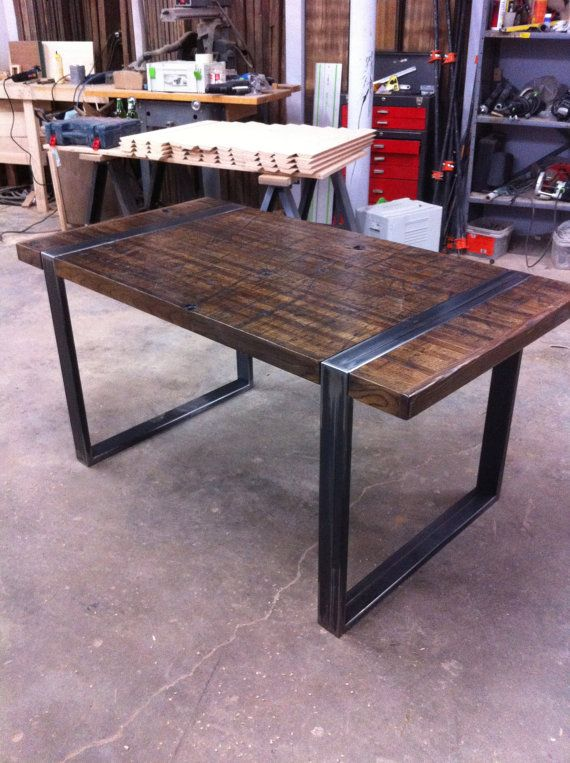 Reclaimed Oak & Steel Dining Table by TheWickedWorkshop on Etsy, $1550.00
