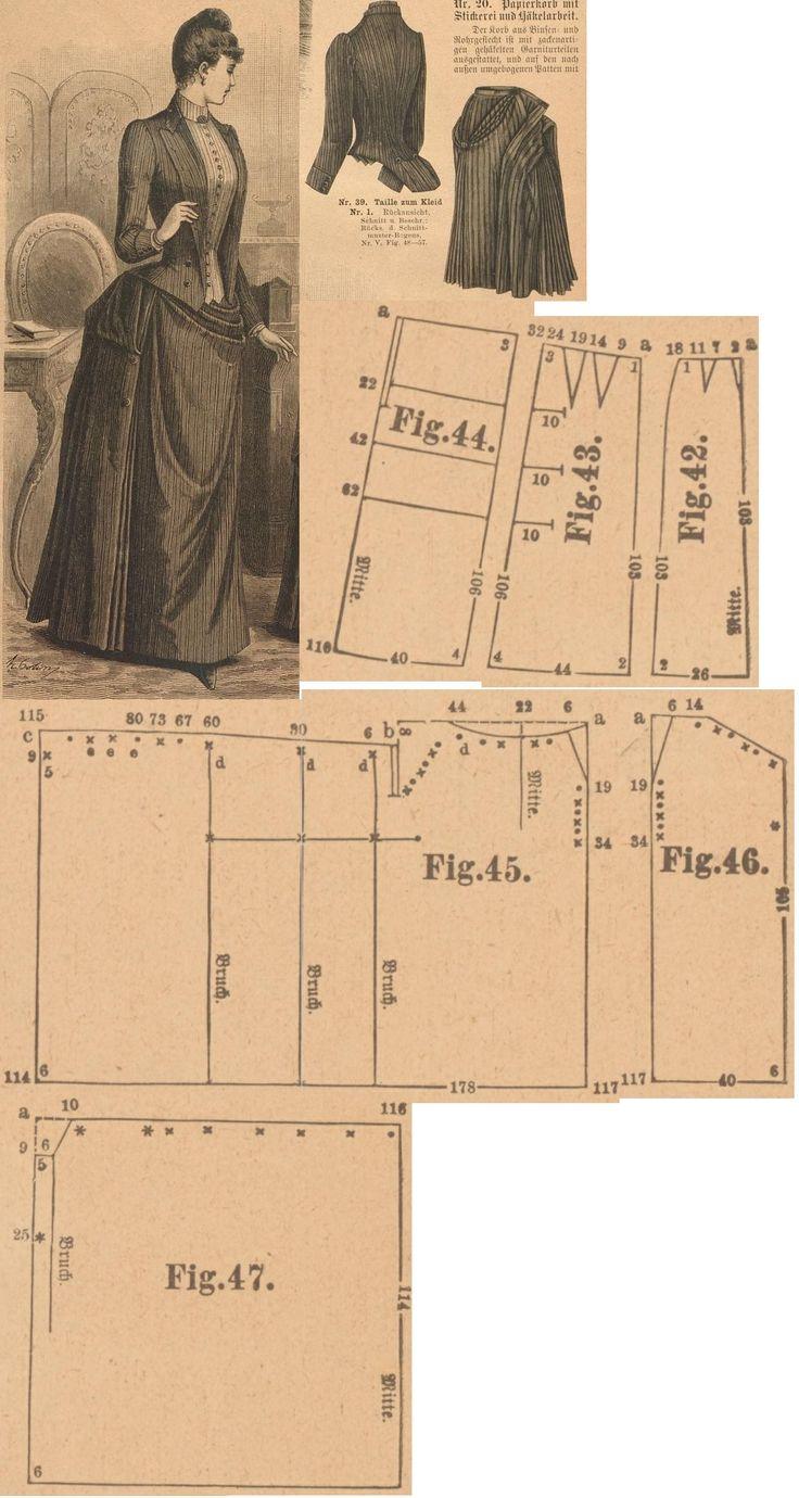 Der Bazar 1889: Striped English woollen dress; 42.-44. foundation skirt gores (from taffeta, insert three 40-45-50 cm long steel hoops, add 8 cm wide woollen balayeuse to the hem) , 45.-47. drapery parts