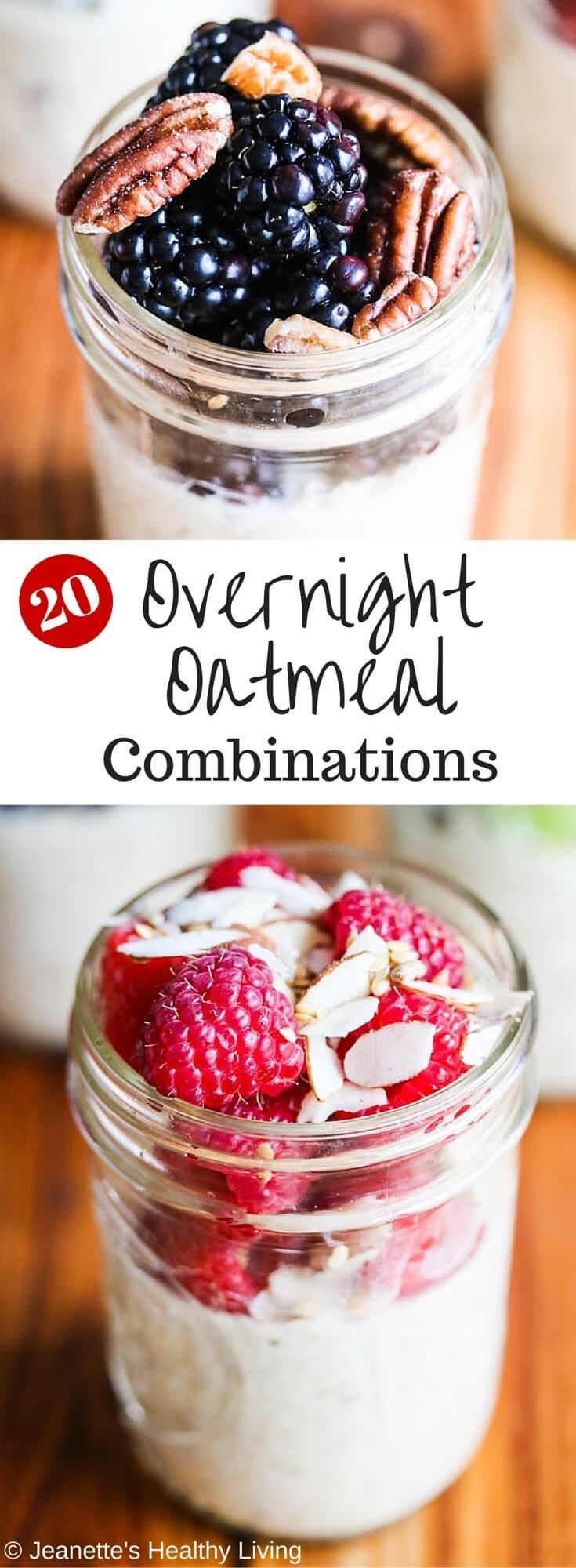 Twenty Healthy Overnight Oatmeal Recipe Combinations - these no-cook oatmeal in mason jars are a quick, healthy grab-and-go breakfast. Make a batch for the week and use any of these 20 recipe combinations. Nutrition facts included in this post. ~ http://jeanetteshealthyliving.com #ad @lovemysilk