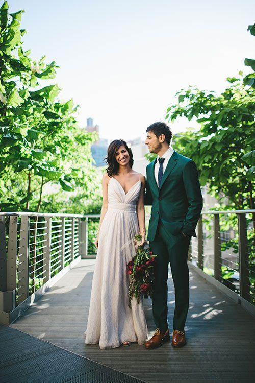 Intimate New York City Wedding, Bride and Groom Portraits | http://Brides.com