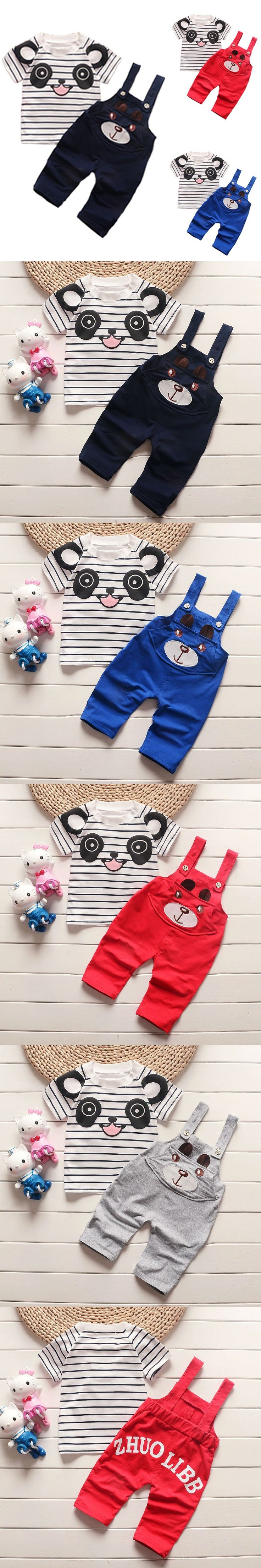 2016 New Summer Baby Clothing Sets Cotton Baby Kleding Cute Cartoon Style T-shirt+Jeans Unisex Gender Casual/Fashion Style