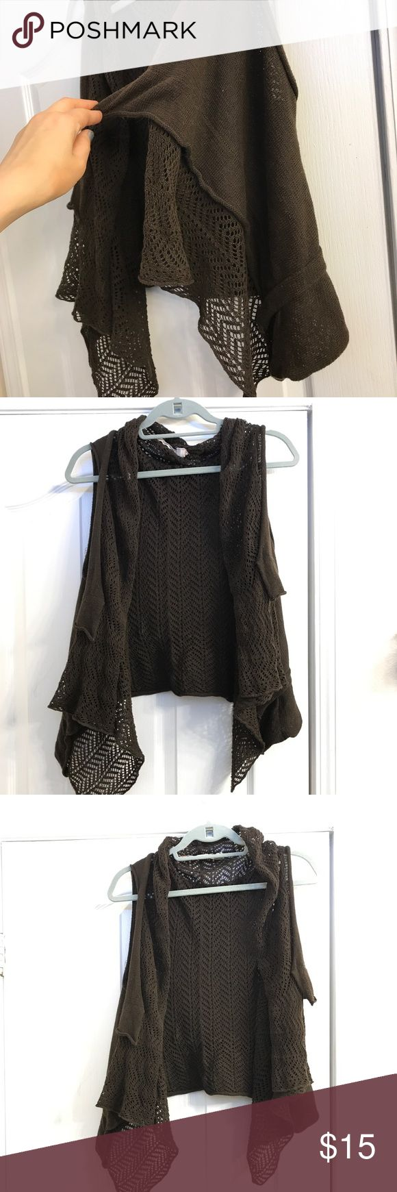 """Crochet Sleeveless Cardigan Pretty knit vest from Chelsea Violet in a cafe brown  Waist length at 5 7"""" I offer impressive discounts on bundles Chelsea & Violet Sweaters"""