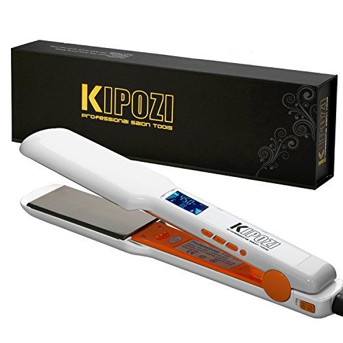KIPOZI Pro 1.75 Inch Hair Straightener Flat Iron with Nano-Titanium Plate,Digital LCD Display, Dual Voltage ,Keratin Treatment,White  ♥1.75 inch Ultimate Titanium made plates provide even distribution of heat.Leaves your hair shiny and silk smooth,30 seconds Instant Heat Up for Keratin Treatment.  ♥Key Press style flat iron and curl iron 2 in 1 tool with LCD display,full contact and snag free when straightening hair.  ♥Adjustable temperature setting from 170F to 450F(80C-230C) to suit ...