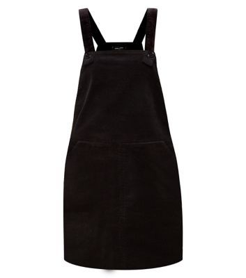 New Look: Black Cord Pinafore Dungaree Dress