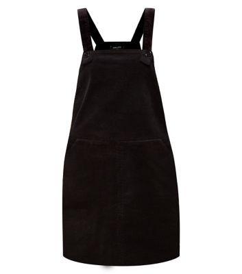 New Look: Black Cord Pinafore Dungaree Dress