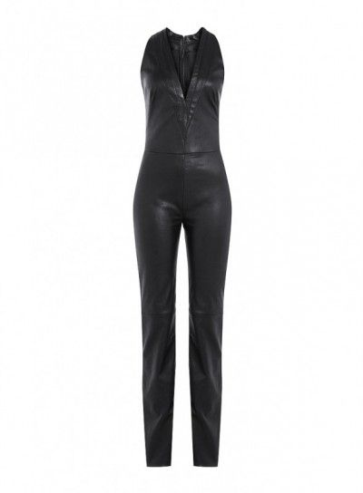 Slim Fit Black Leather Jumpsuit with Plunge V Neck - This lamb leather jumpsuit is the perfect fit for this #Halloween party. The all black costume features front deep V-neck, back zip closure and in-cut sleeves.