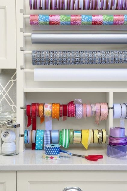 Here's an idea: Remove cabinet doors where you can use the interior to show off your wrapping paper station, with dowels as organizers.: Ideas, Crafts Rooms, Ribbons, Gifts Wraps, Craftroom, Wraps Paper, Home Offices, Craft Rooms, Wraps Stations