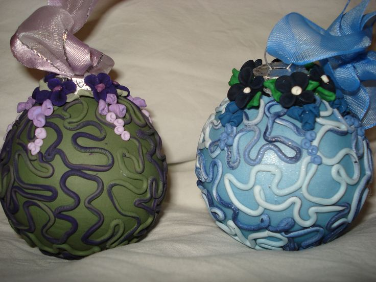 Christmas baubles from polymer clay.