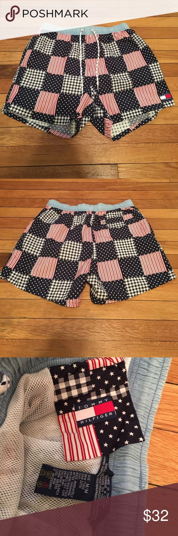 SUPER DOPE VINTAGE TOMMY HILFIGER SWIM TRUNKS Size: Medium, American-flag patterned Tommy Trunks bathing suit by Tommy Hilfiger.  Worn once and in excellent condition!  Serious offers no lowballing.  Tags: tommy hilfiger, tommy trunks, tommy jeans, vintage, retro, polo ralph lauren, nautica, 90s, supreme, bape, yeezy, nmd Tommy Hilfiger Swim Swim Trunks