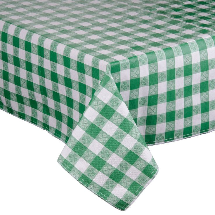 """52"""" x 72"""" Green Checkered Vinyl Table Cover with Flannel Back"""