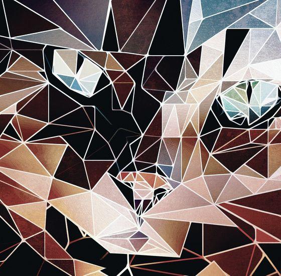 Low poly portret van een kat  #kunst #werkaandemuur #kat
