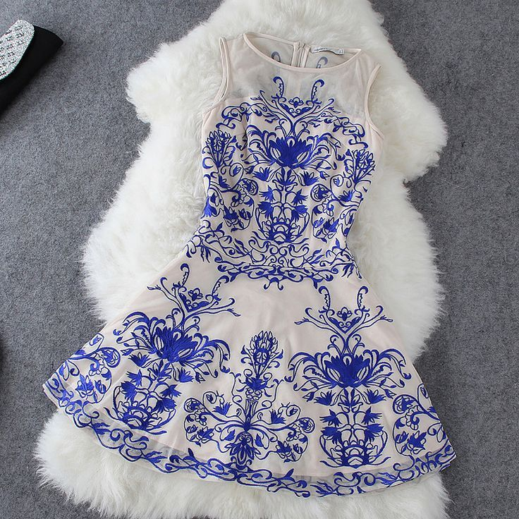 Embroidered Lace Dress in White